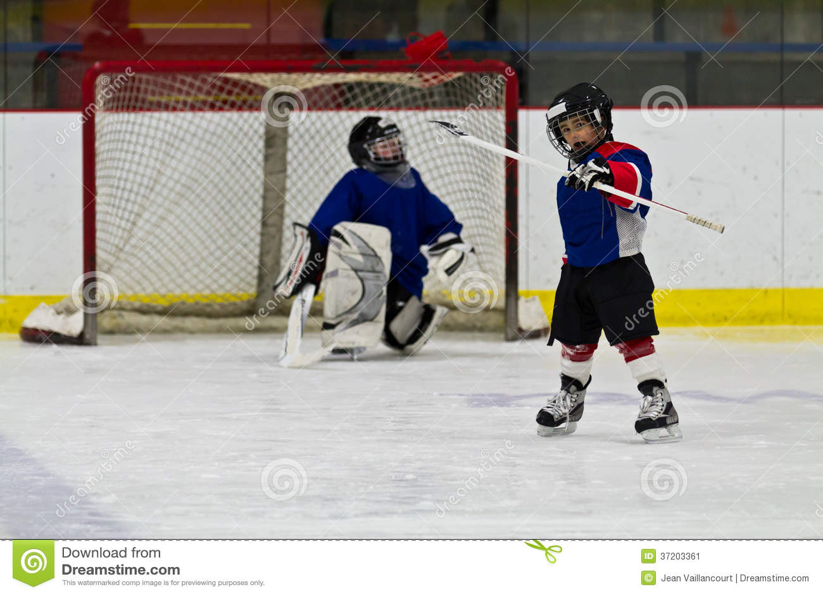 Lodowy gracz w hokeja świętuje po zdobywać punkty cel