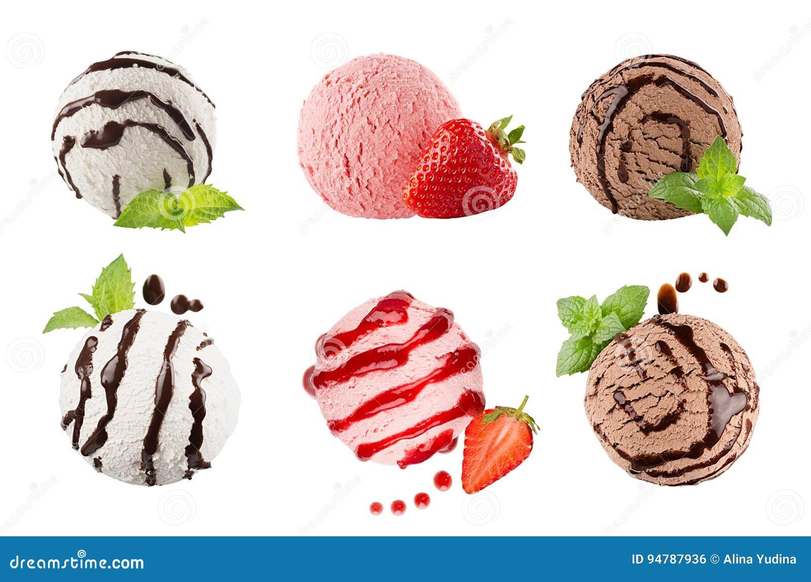 Lody łyżkuje kolekcję sześć piłek, dekorujący pasiasty czekoladowy kumberland, nowi liście, plasterek truskawka Odizolowywający n