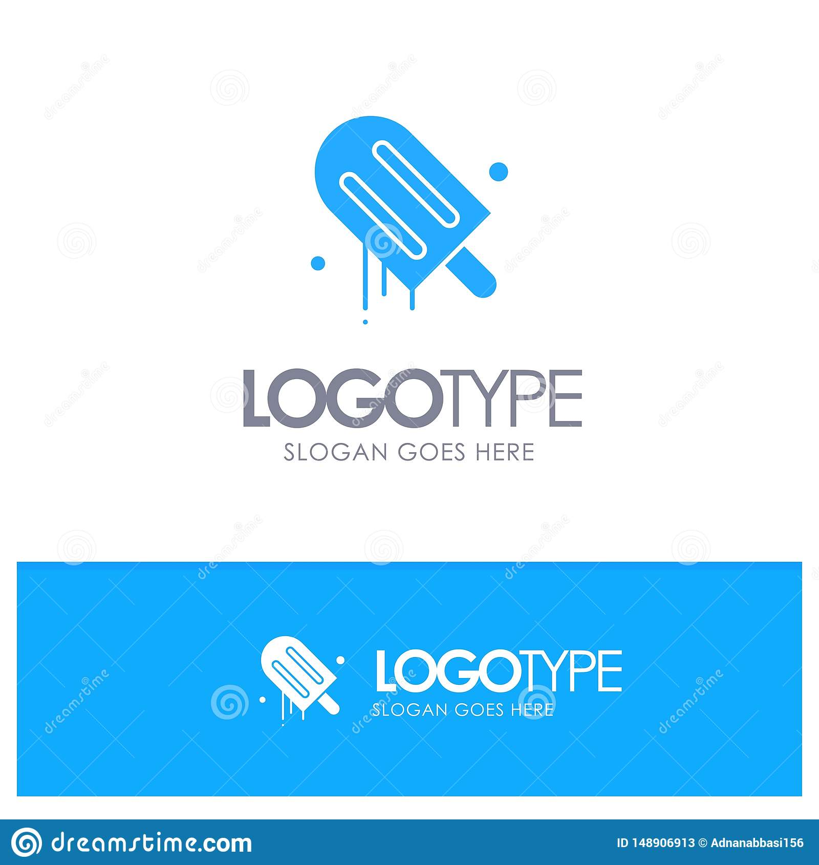 Lody, śmietanka, amerykanin, Usa Błękitny Stały logo z miejscem dla tagline