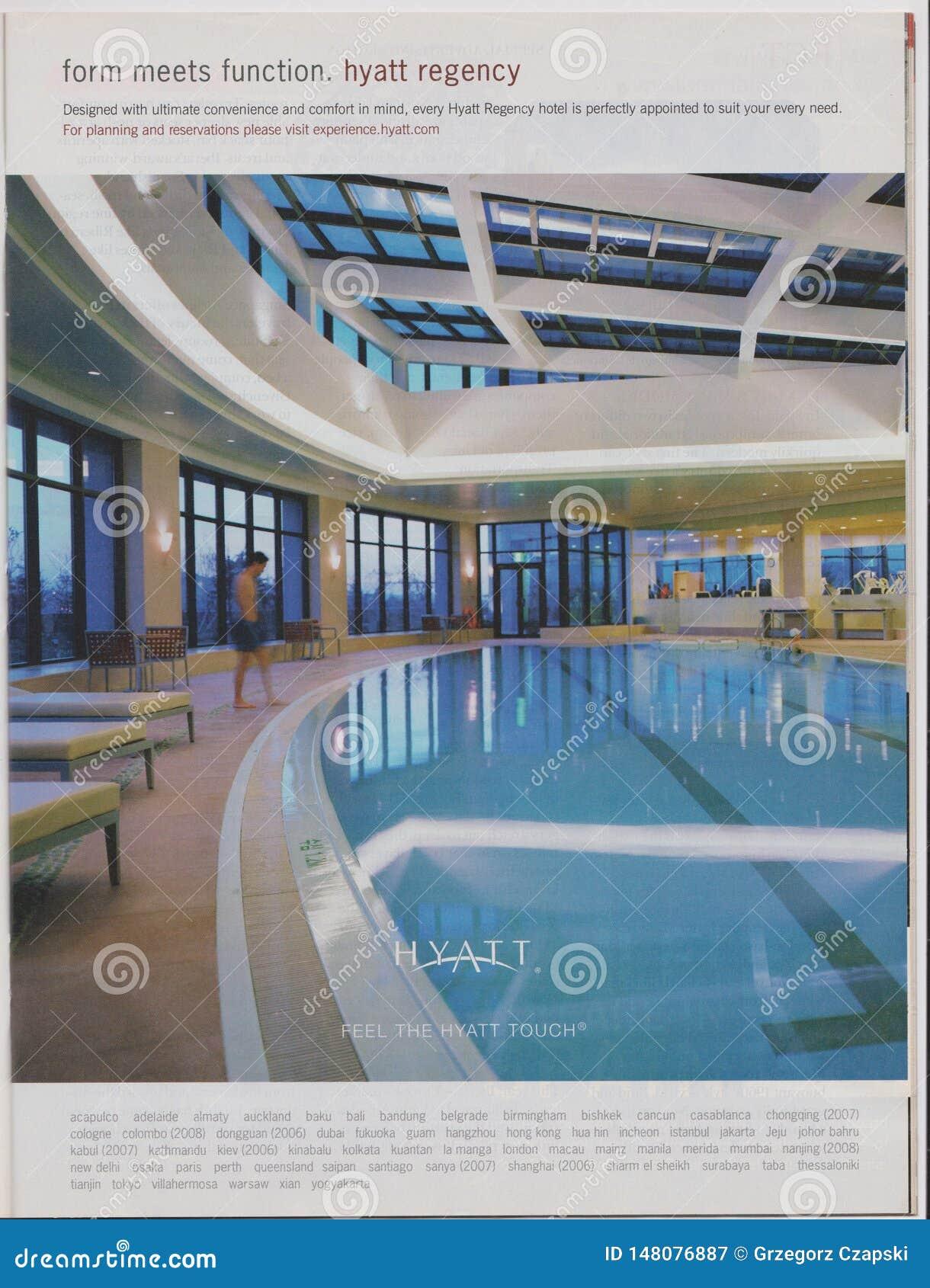 Poster advertising Hyatt Hotel in magazine from October 2005, form meets function. Feel the Hyatt touch slogan