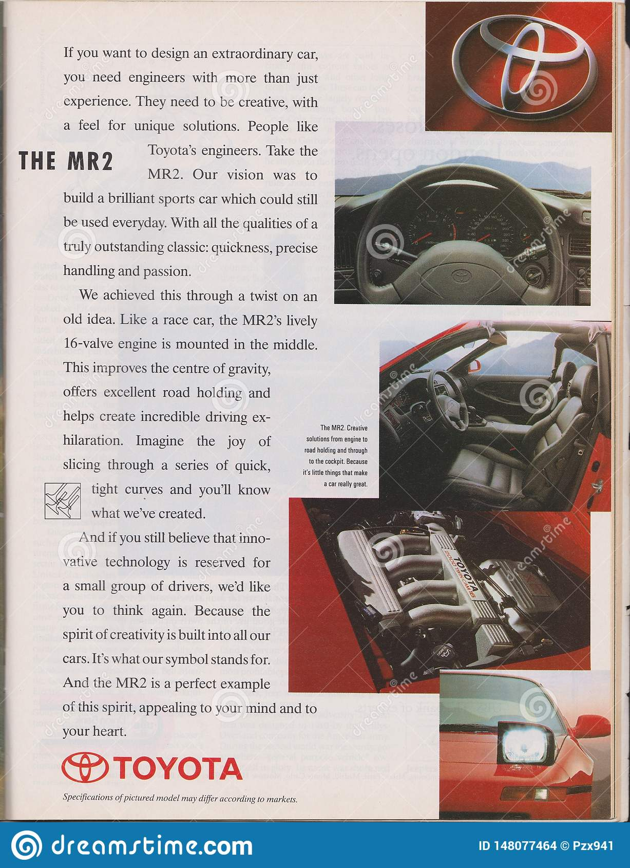 poster advertising Toyota MR2 Second generation W20 car in magazine from 1992, slogan