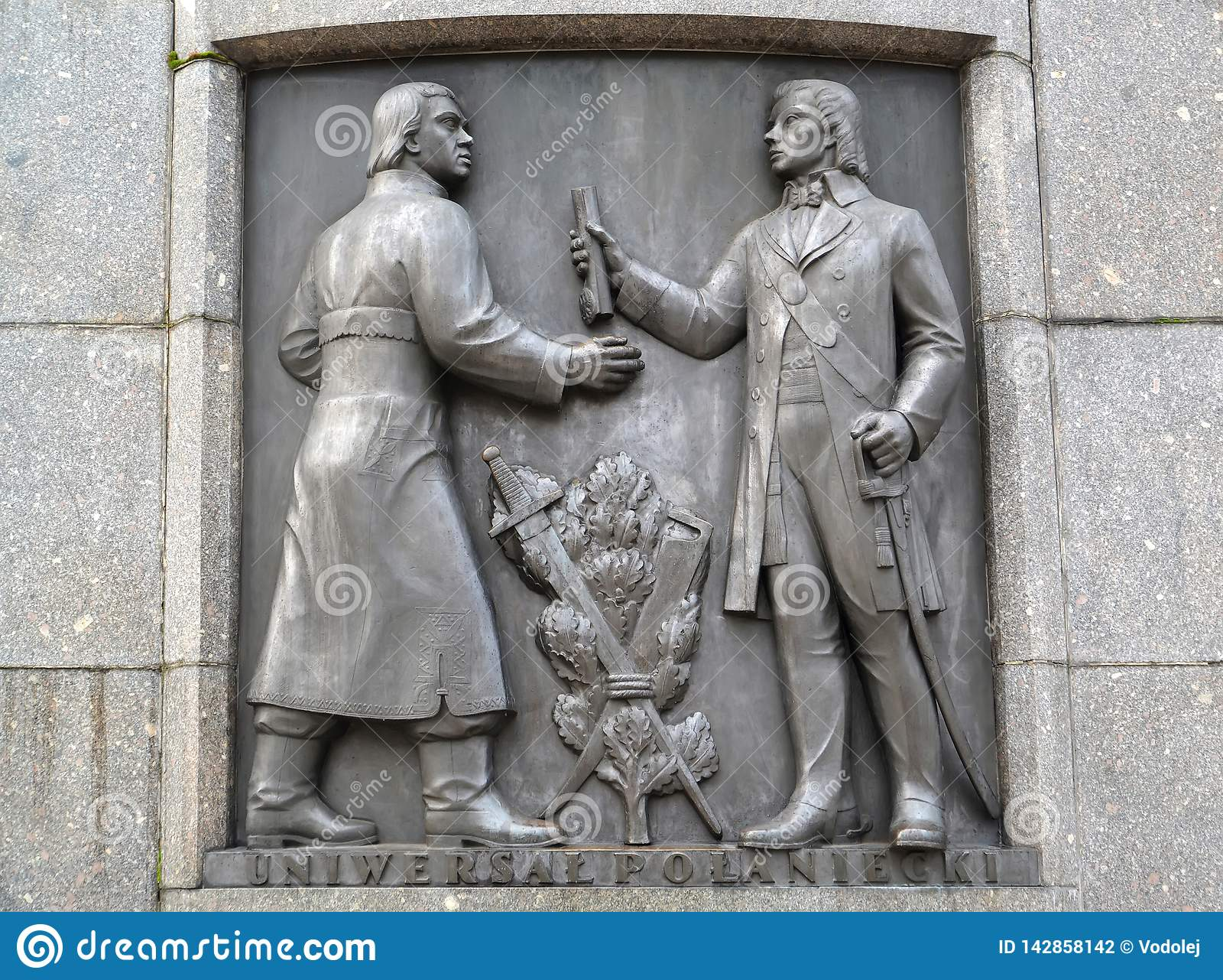 Lodz, Polonia Un bassorilievo con l immagine di Tadeusz Kosciusko Un frammento di un monumento di Kosciusko a Liberty Square