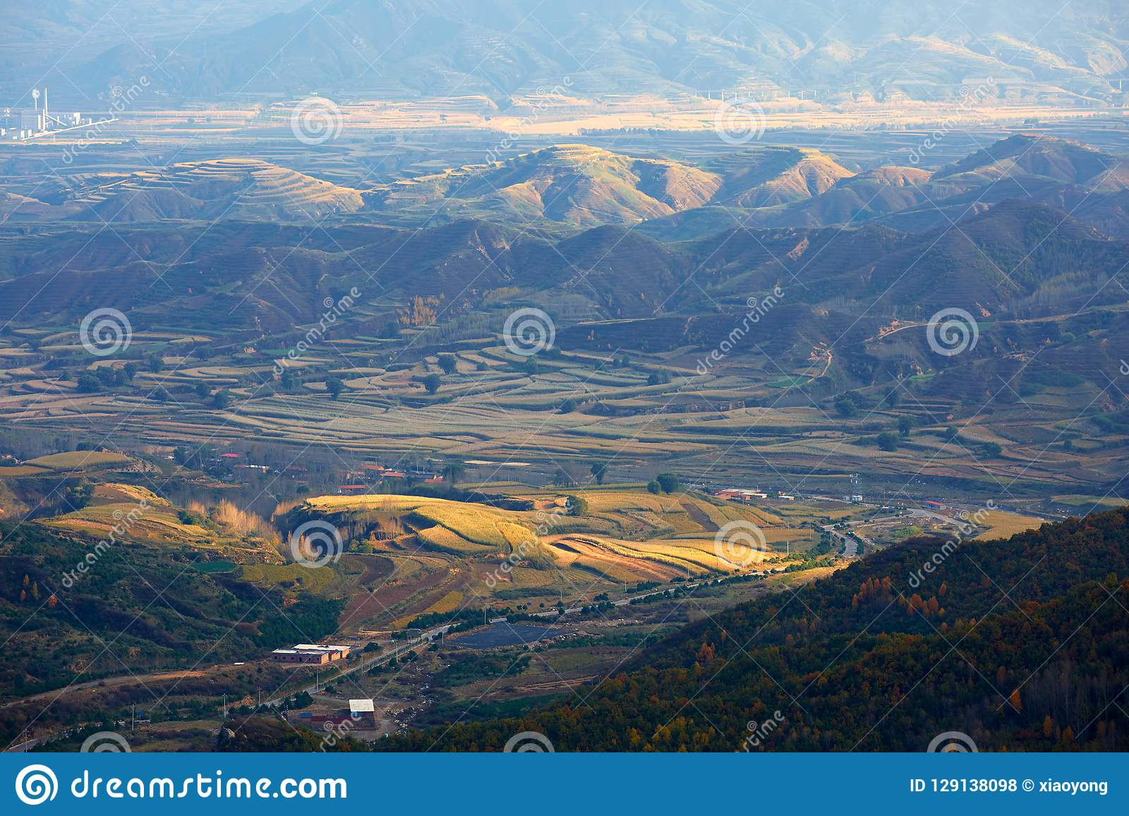 Loess de Plateauherfst, Shanxi, China