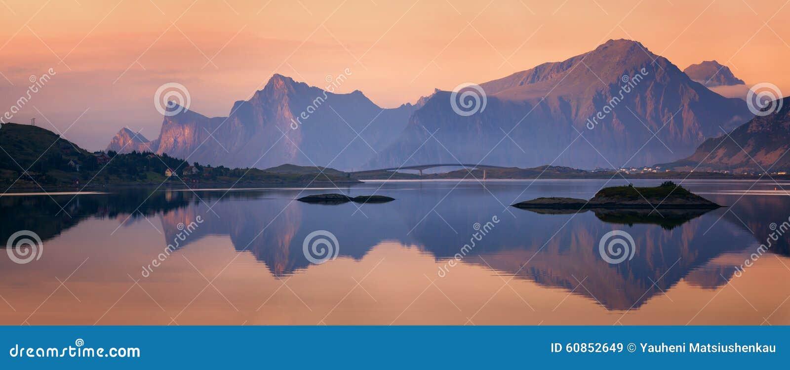 Lofoten海岛,挪威日落全景
