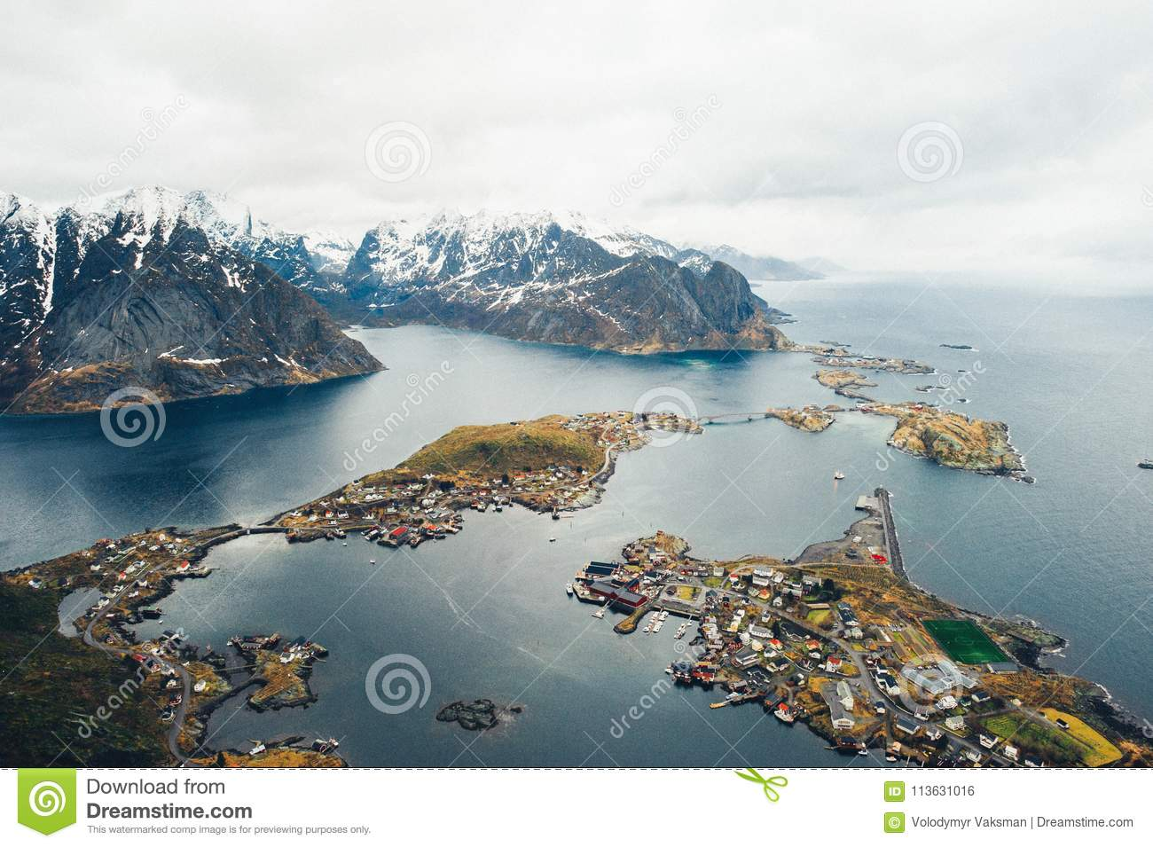 Scenic aerial view of fishing town Reine on Lofoten islands, Nor