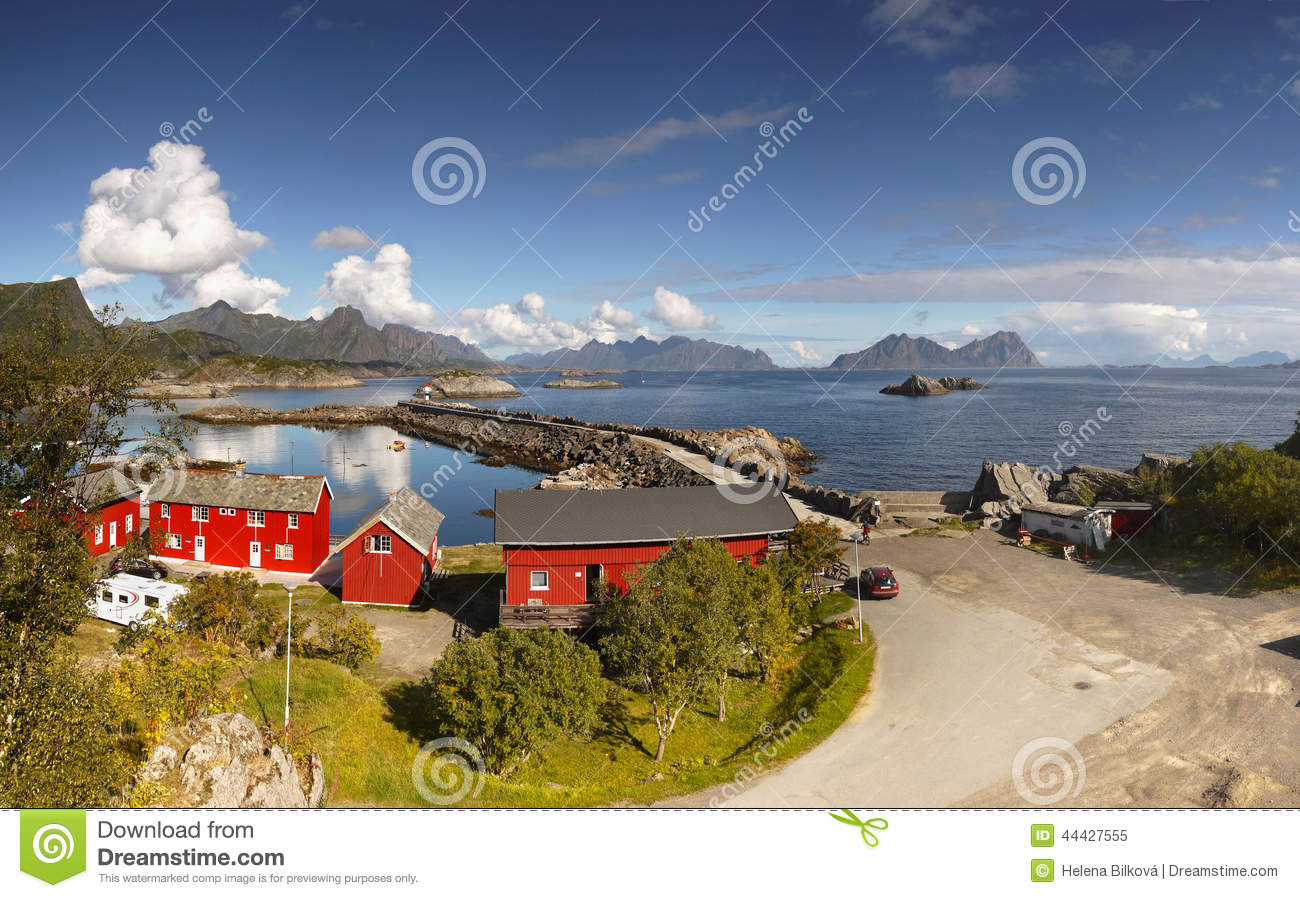 Lofoten islands stock image 44433211 - The house on the rock the ultimate refuge in a norwegian fjord ...