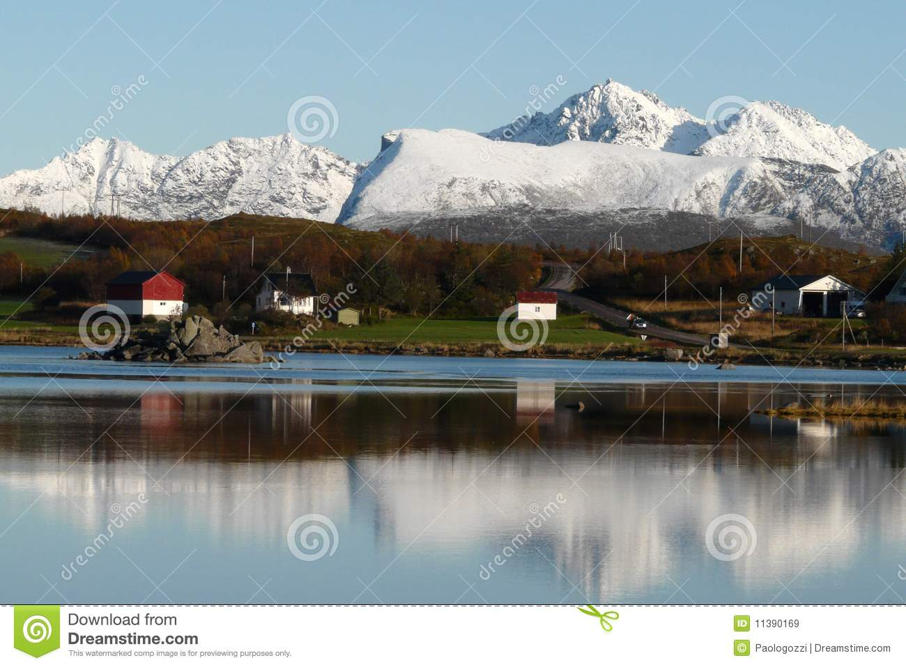 Lofoten s mountains reflecting in the fjord