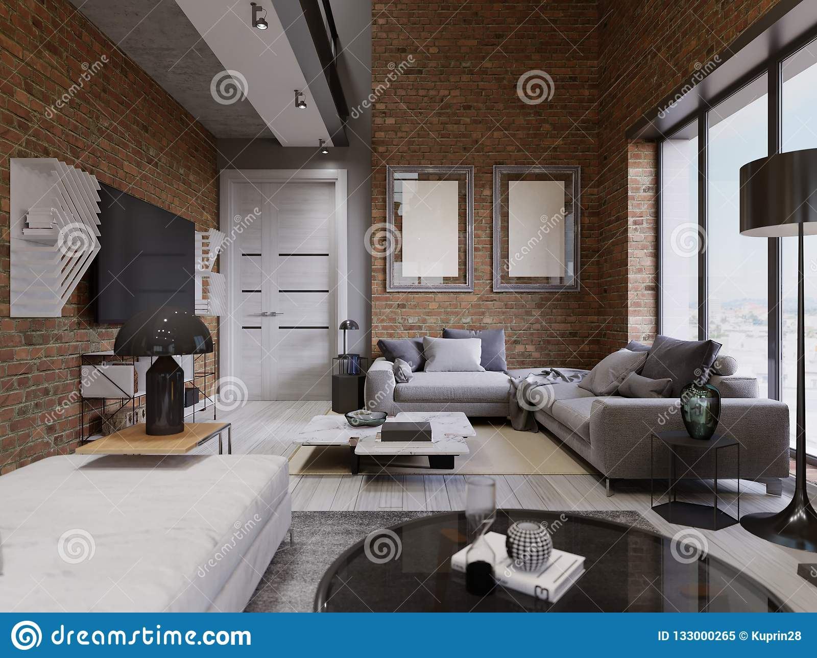 Loft Apartment With Brick Wall  ith Modern Furniture Stock ...
