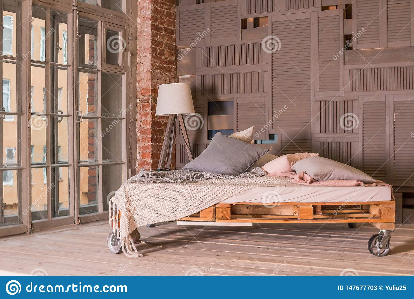 Loft Apartment Interior Minimalist Interior With Simple Wooden Bed Lamp Big Window Stylish Bedroom In Loft Style Stock Image Image Of Creativity Loft 147677703