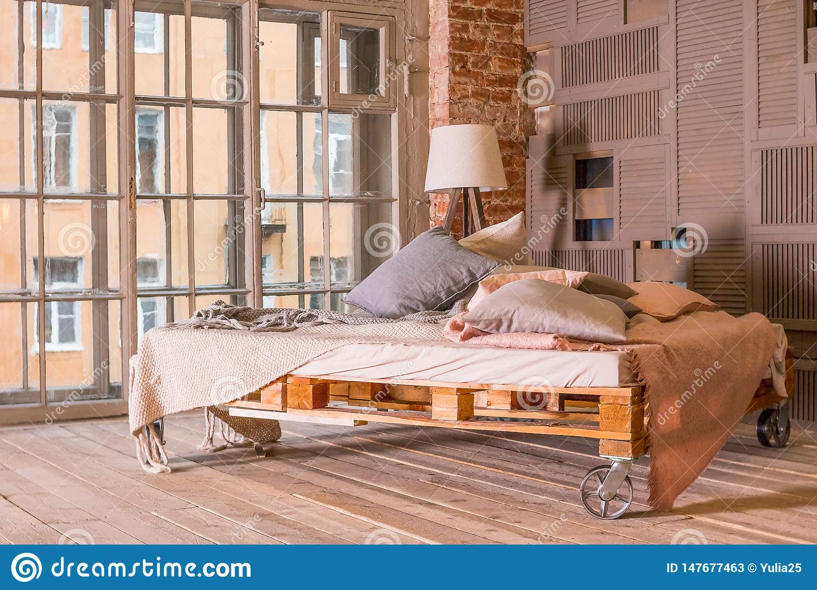Loft Apartment Interior Minimalist Interior With Simple Wooden Bed Lamp White Bedding Pastel Colors Big Window Cozy Stock Image Image Of Black Contemporary 147677463