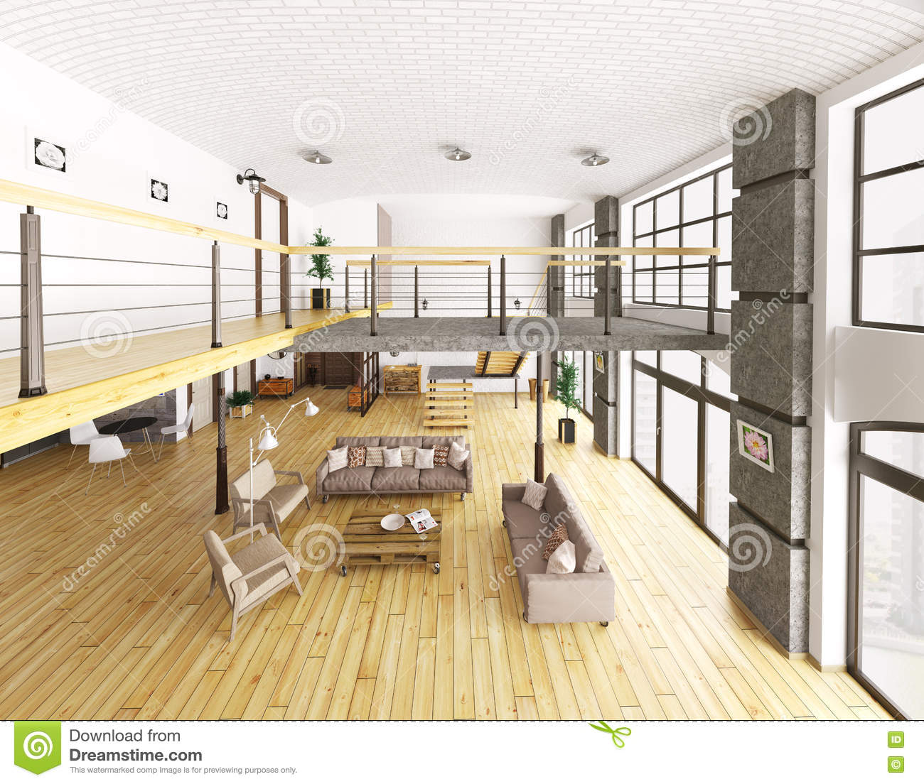 Image gallery loft apartments 3d view for Living room 3d view