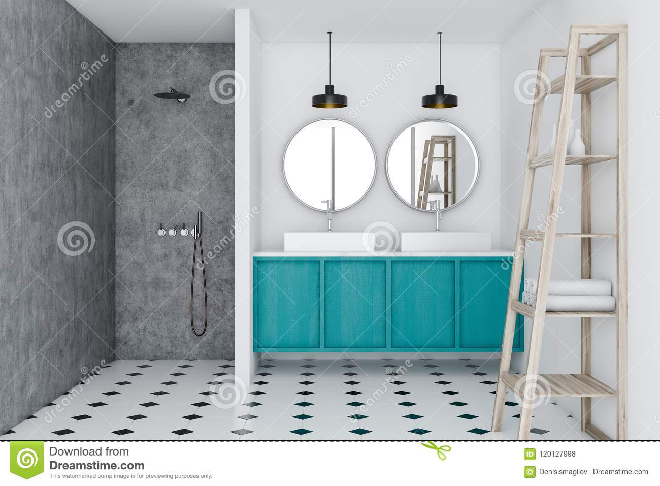 Loft Bathroom, Blue Sink And Shower, Shelves Stock Illustration ...