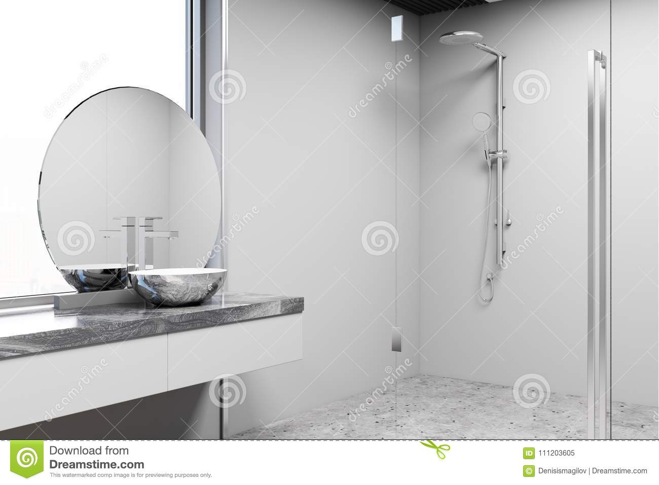 Loft Bathroom Interior Double Sink And Shower Stock Illustration Illustration Of Bath Bathroom 111203605