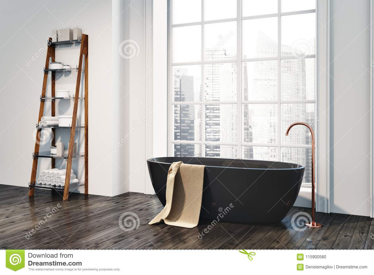 Loft Bathroom Corner, Black Tub, Shelves Stock Illustration ...