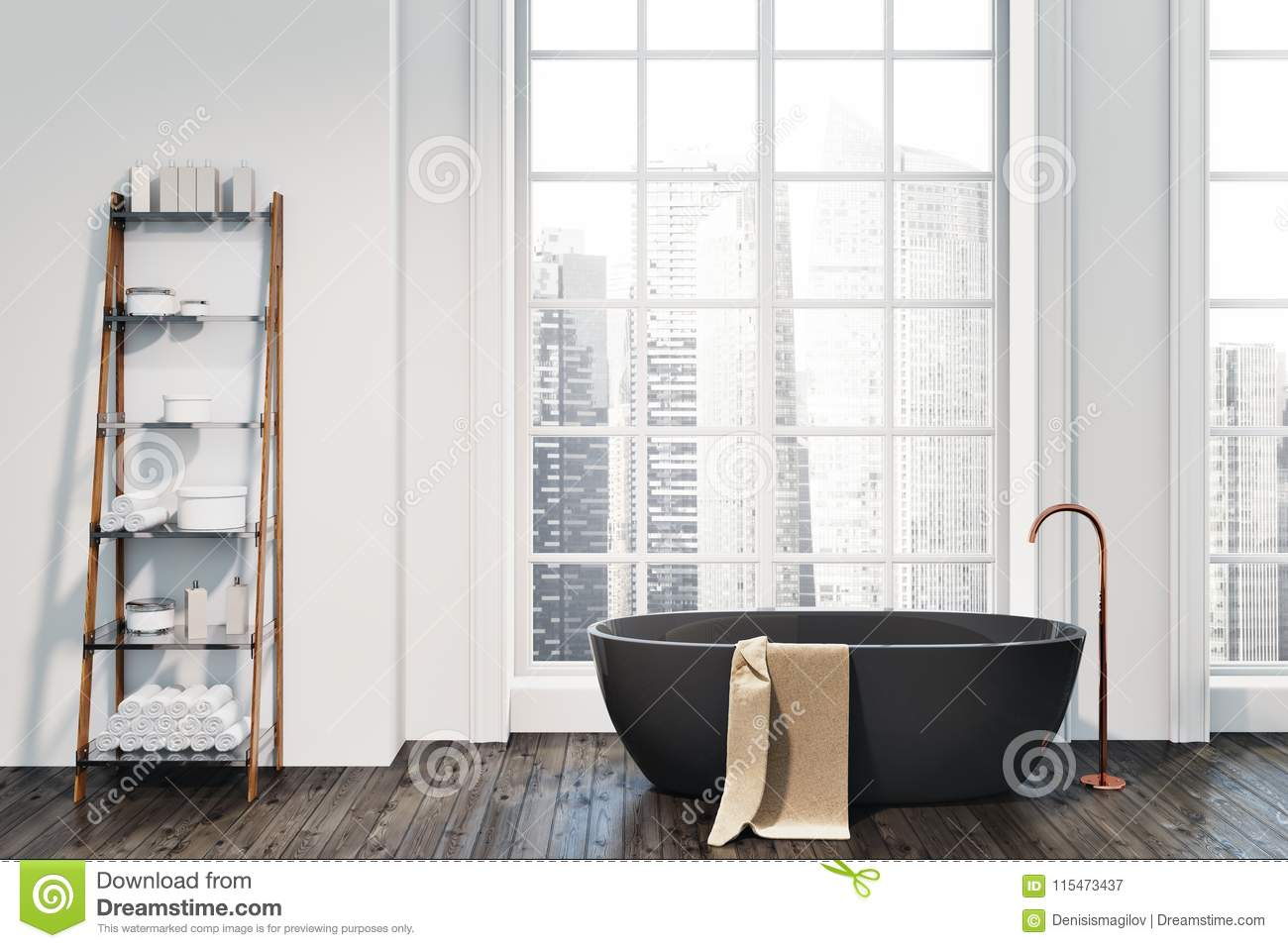 Loft Bathroom Interior, Black Tub, Shelves Stock Illustration ...