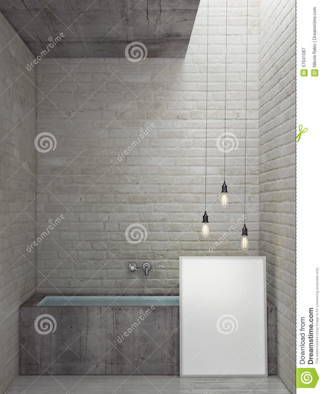 loft bathroom with mock up poster stock illustration image