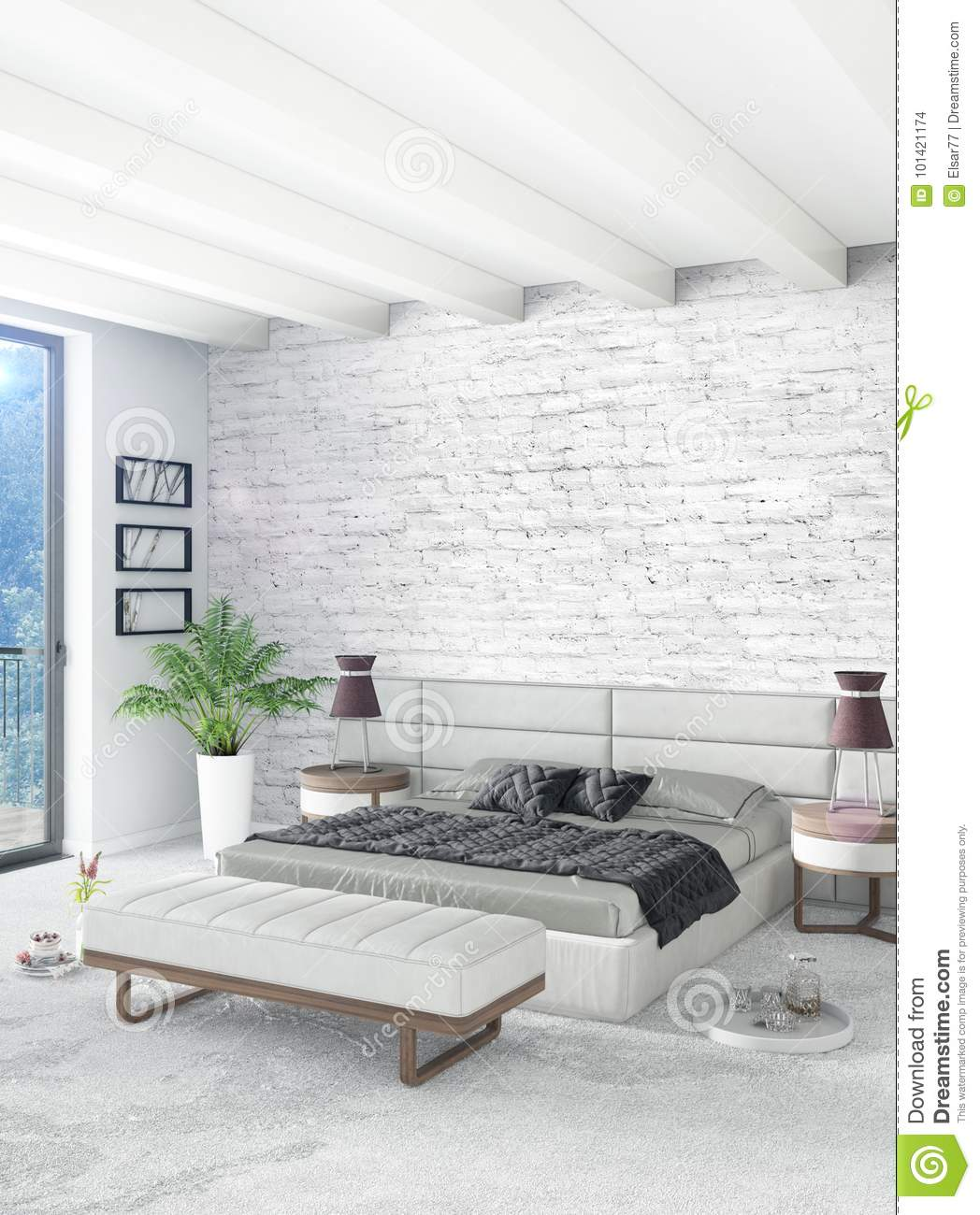 Loft Bedroom In Modern Style Interior Design With Eclectic Wall And Stylish Sofa 3d Rendering Stock Illustration Illustration Of Living Empty 101421174