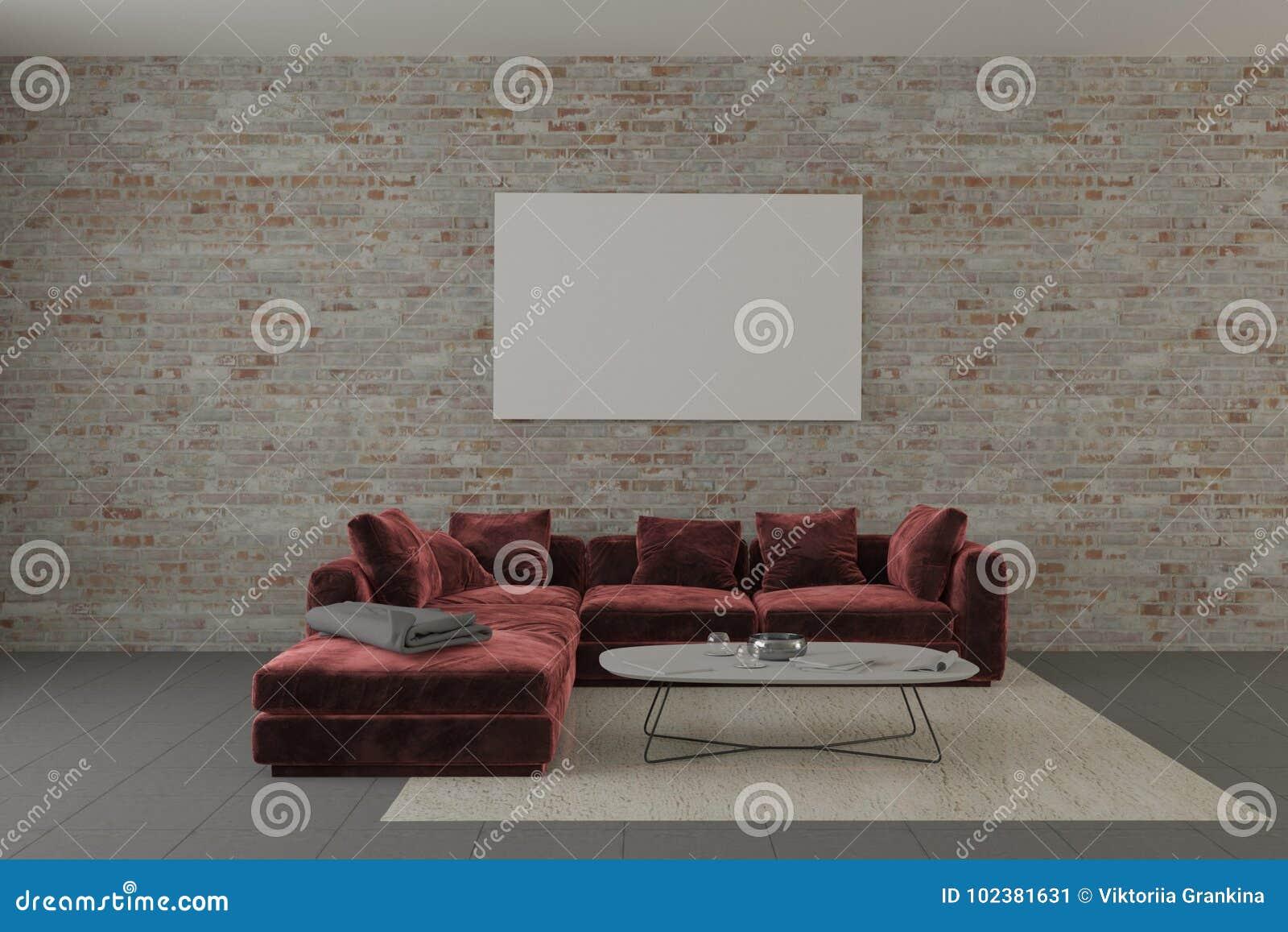 Download Loft Brick Interior With Red Velvet Sofa And Mock Up Pattern Stock  Illustration   Illustration