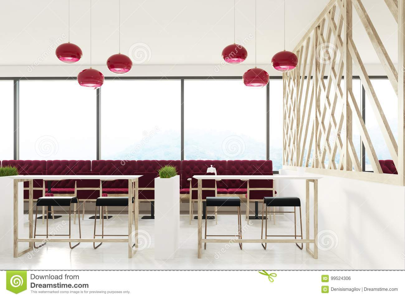 Loft Cafe With Red Sofas Stock Illustration Illustration Of Chair