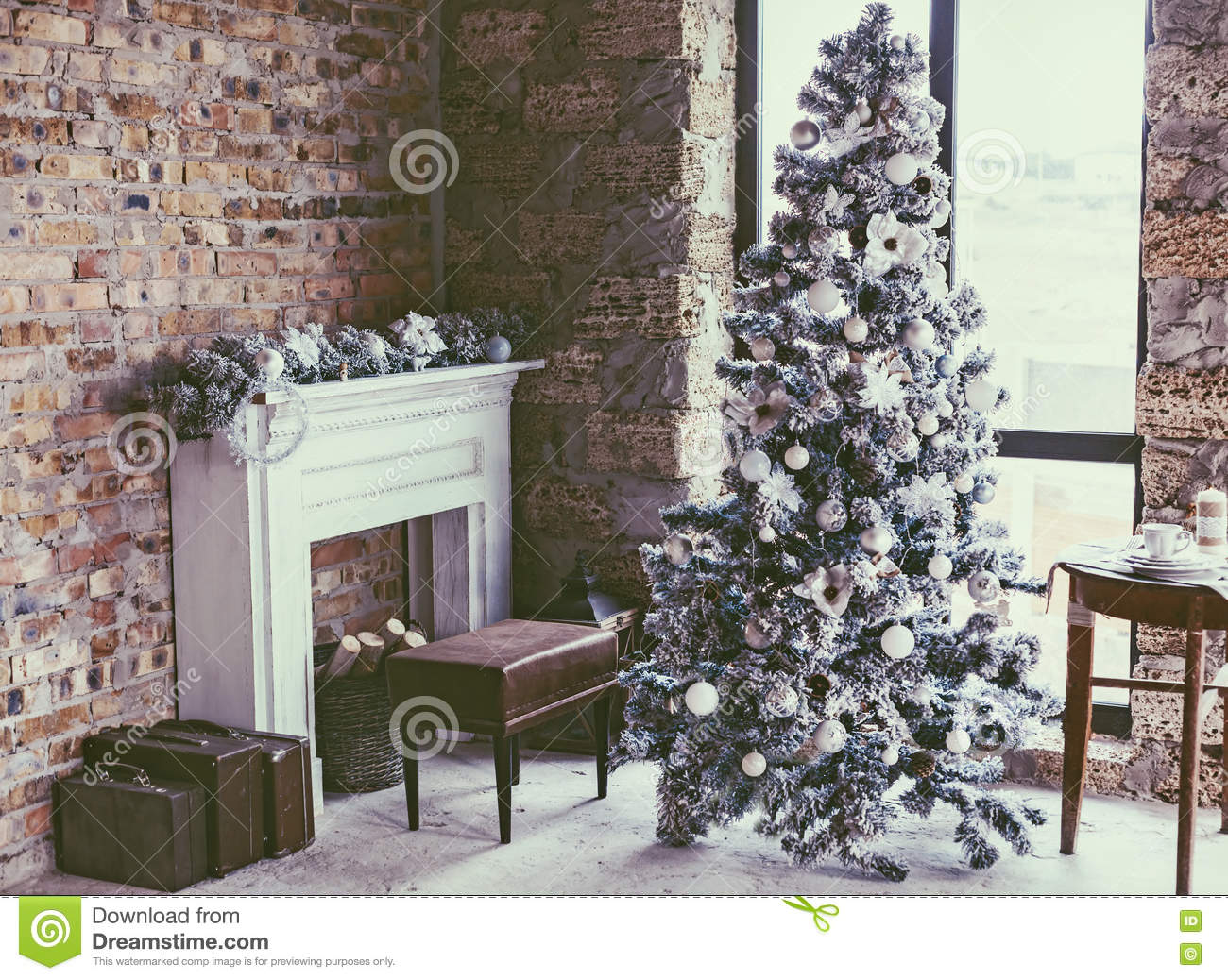 Loft Christmas Room Stock Photo Image 77124236