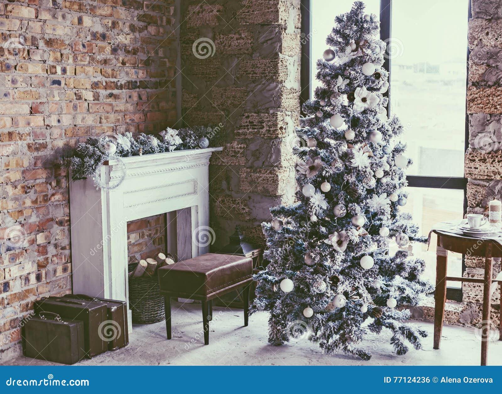 Loft Christmas Room Stock Photo Image 77124236