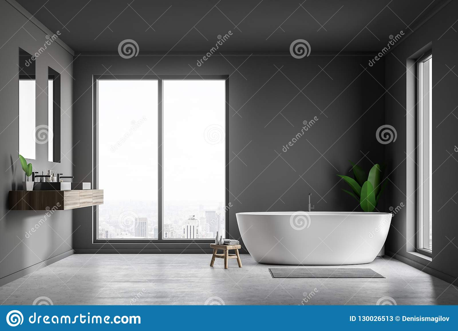 Loft Gray Bathroom Interior Tub And Sink Stock Illustration