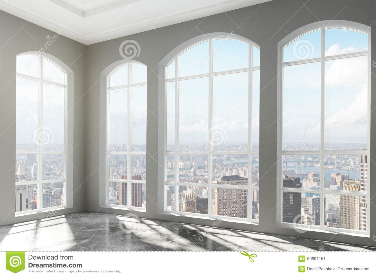 Loft interior with big windows and city view stock image for Large house windows