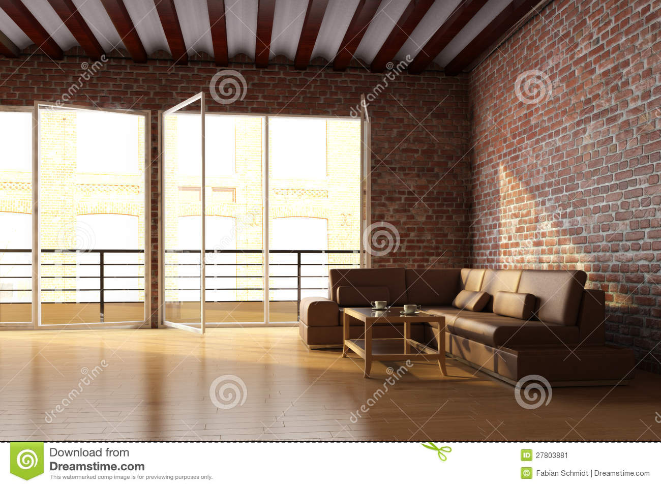 Loft interior with brick wall stock illustration image for Interior brick wall designs