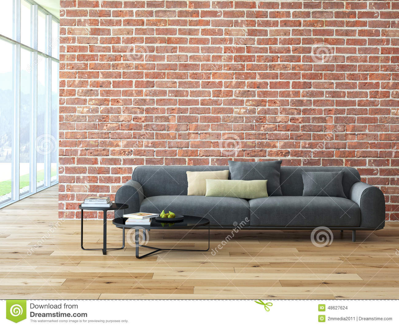 ... With Brick Wall And Coffee Table Stock Photo - Image: 48627624