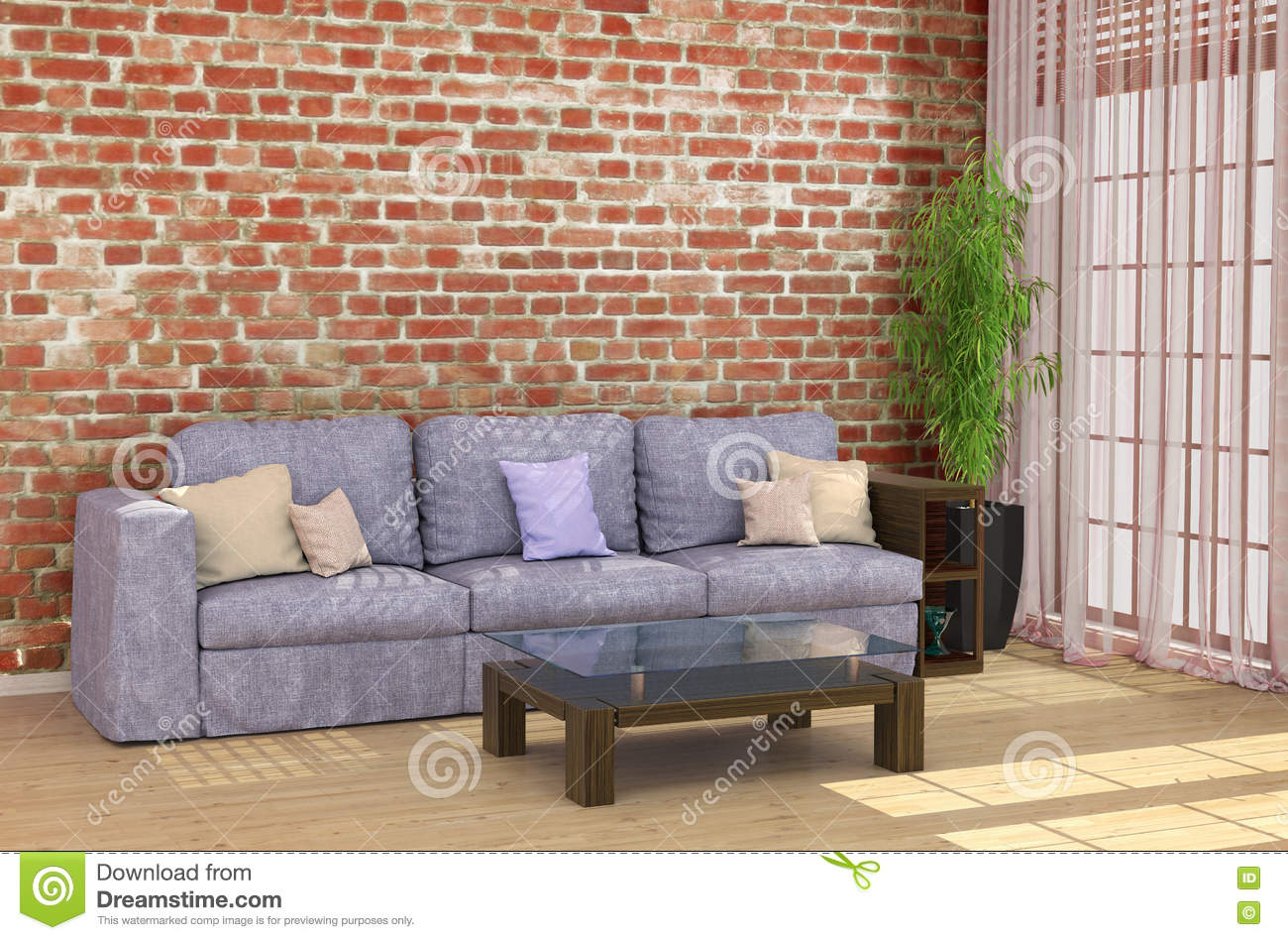Loft Interior With Brick Wall Sofa Stock Illustration