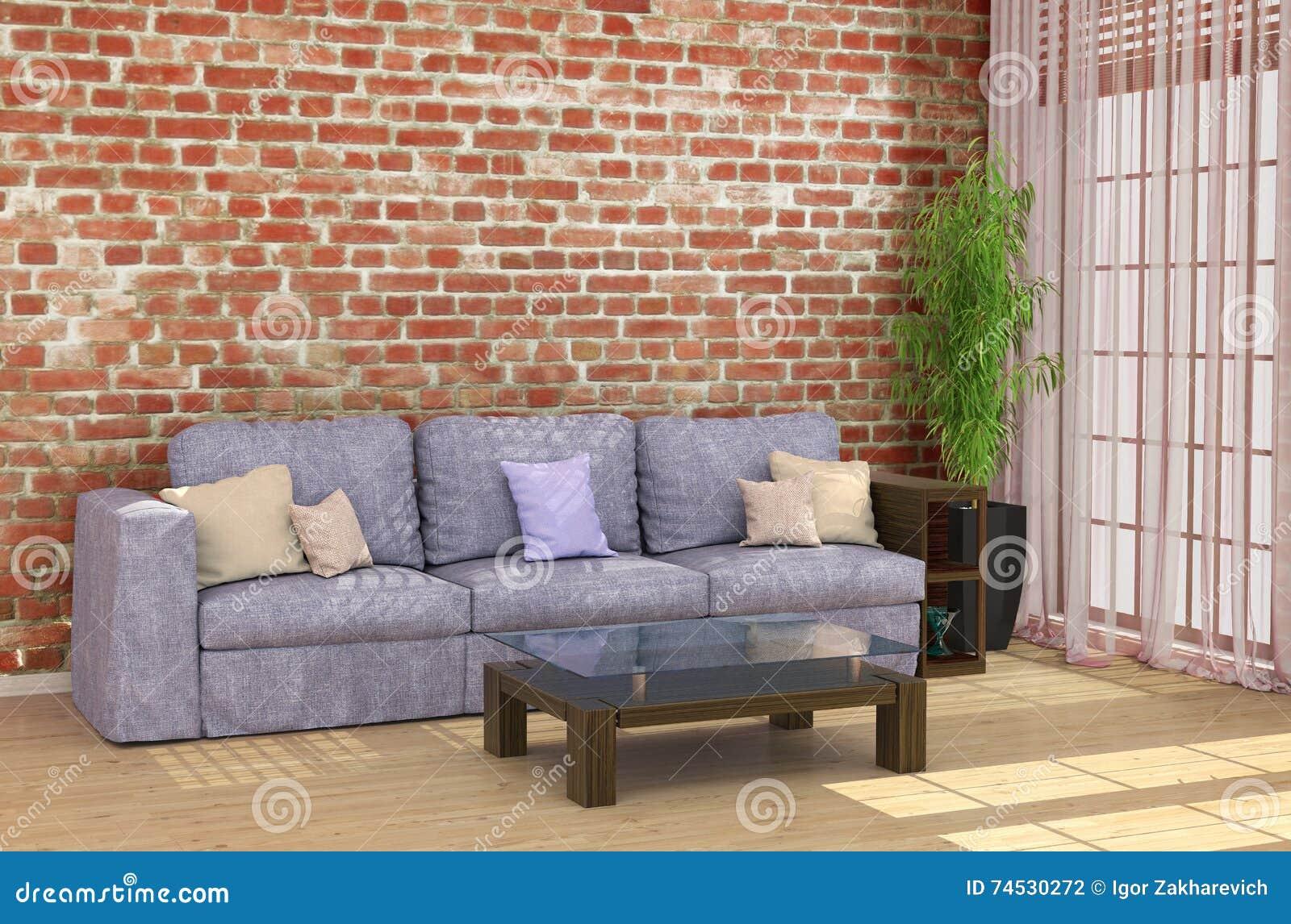 Loft Interior With Brick Wall Sofa Stock Illustration