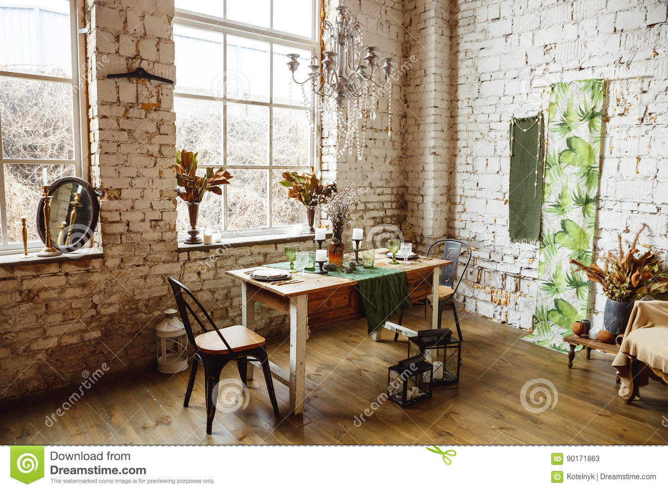 Loft Interior With Brick Wall, Table And Chairs Stock Image - Image ...