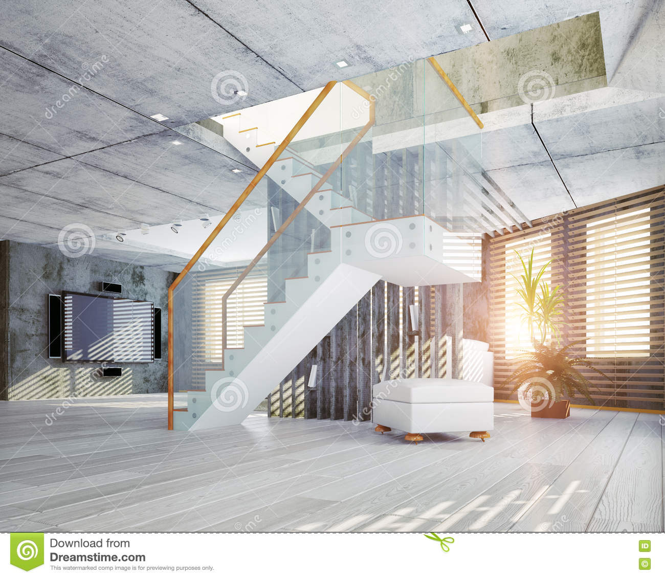 Loft Interior Stock Illustration Image 46085338