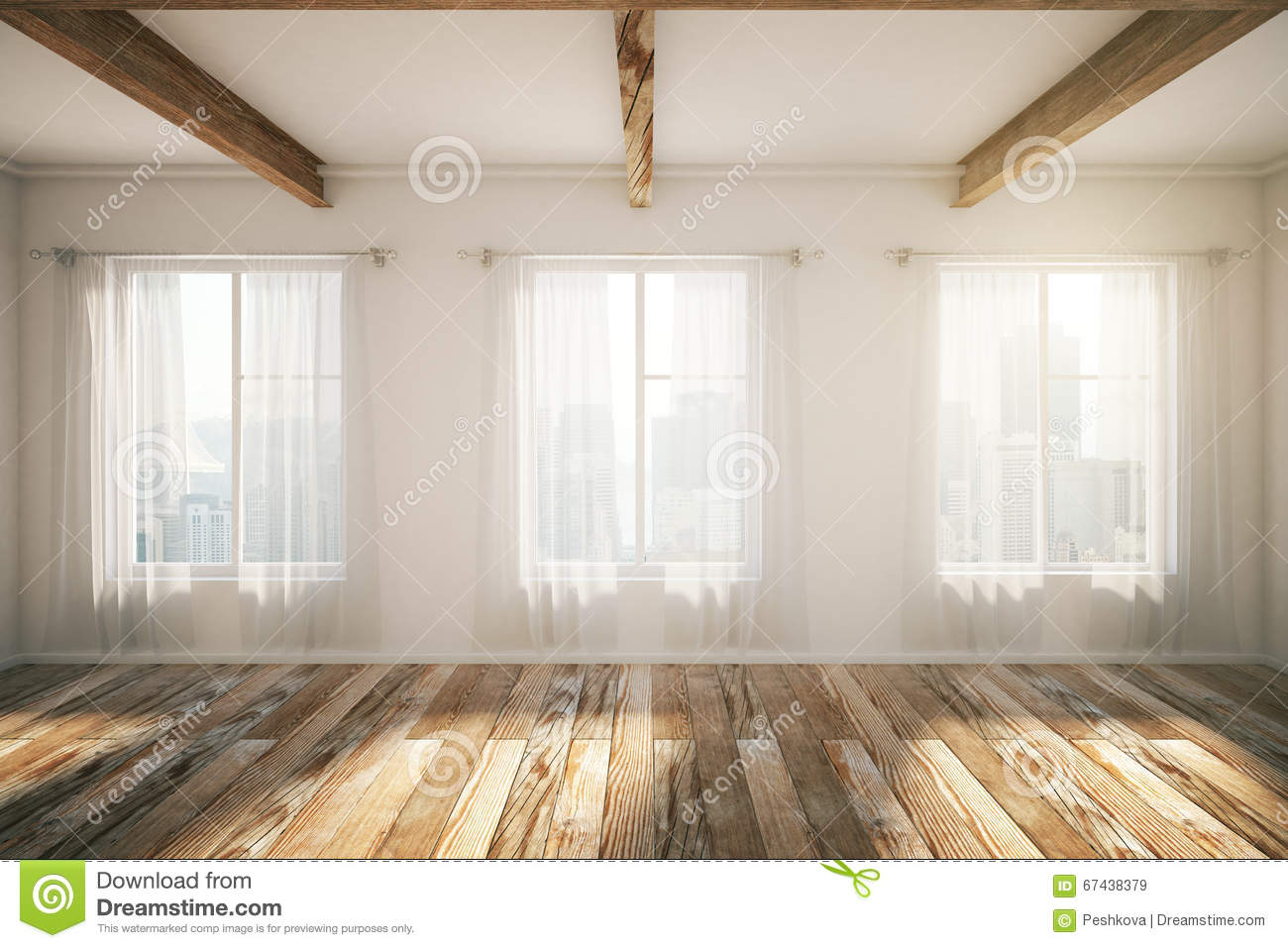 Loft Interior With Windows Brown Parquet And Curtains