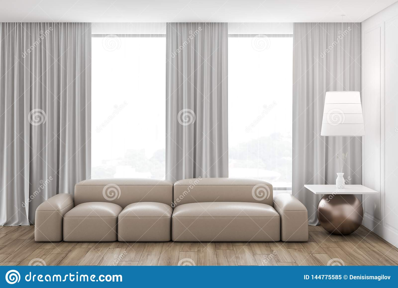 Wondrous Loft Living Room Interior Beige Couch Stock Illustration Machost Co Dining Chair Design Ideas Machostcouk
