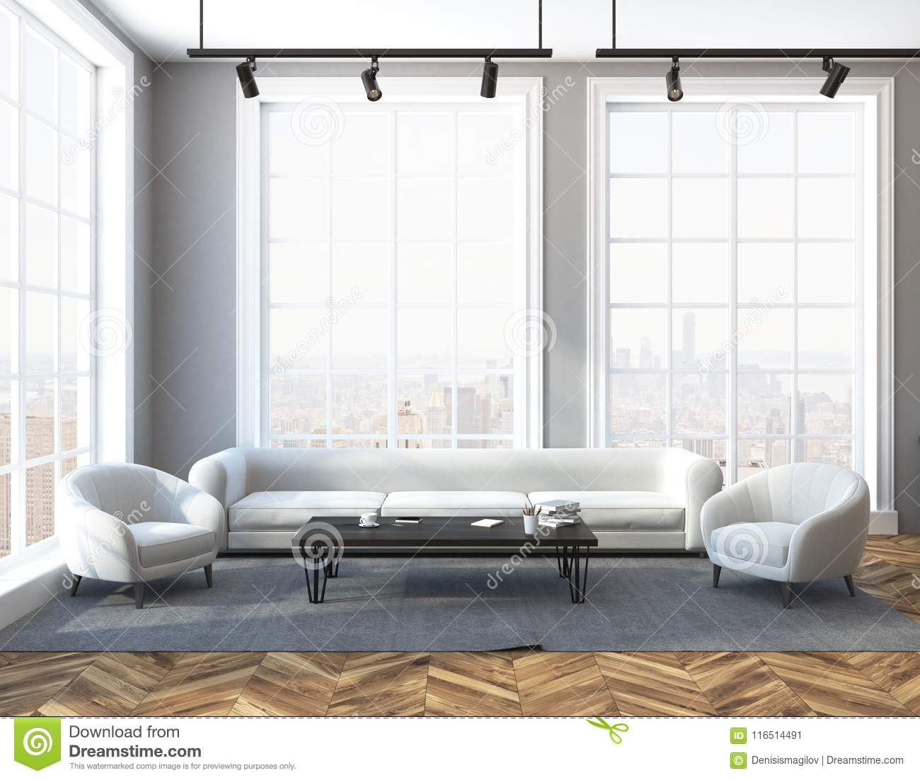Loft Living Room Sofa And Two Armchairs Stock Illustration ...