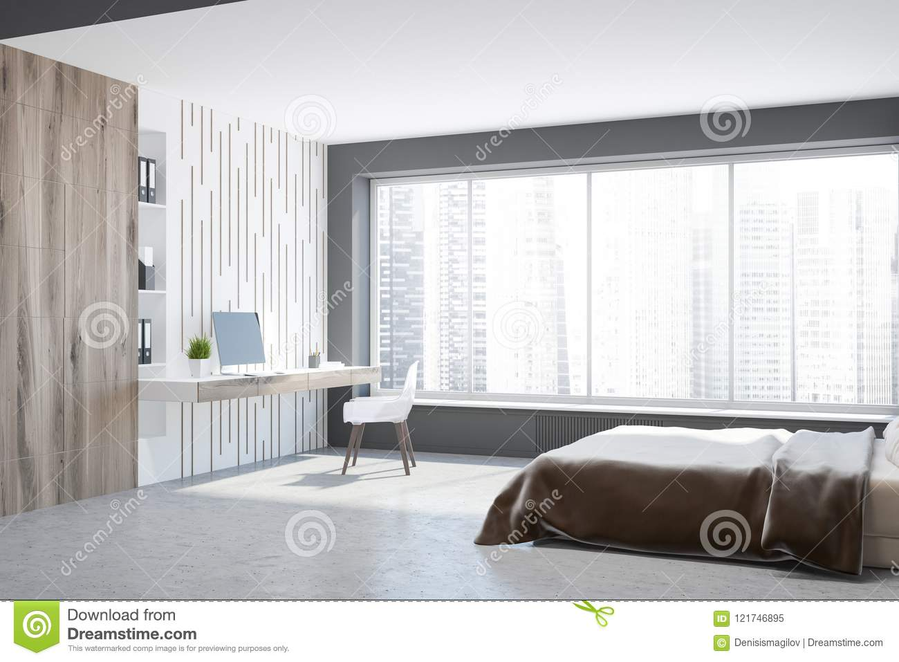Gray Master Bedroom Corner, Computer Desk Stock Illustration ...
