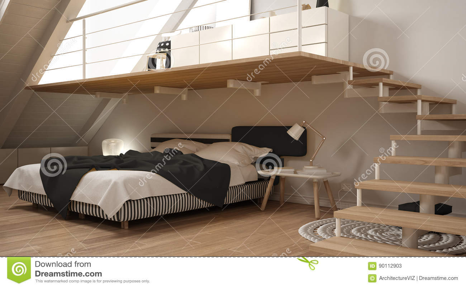 Mezzanine Bedroom Loft Mezzanine Scandinavian Minimalist Bedroom White Classic In
