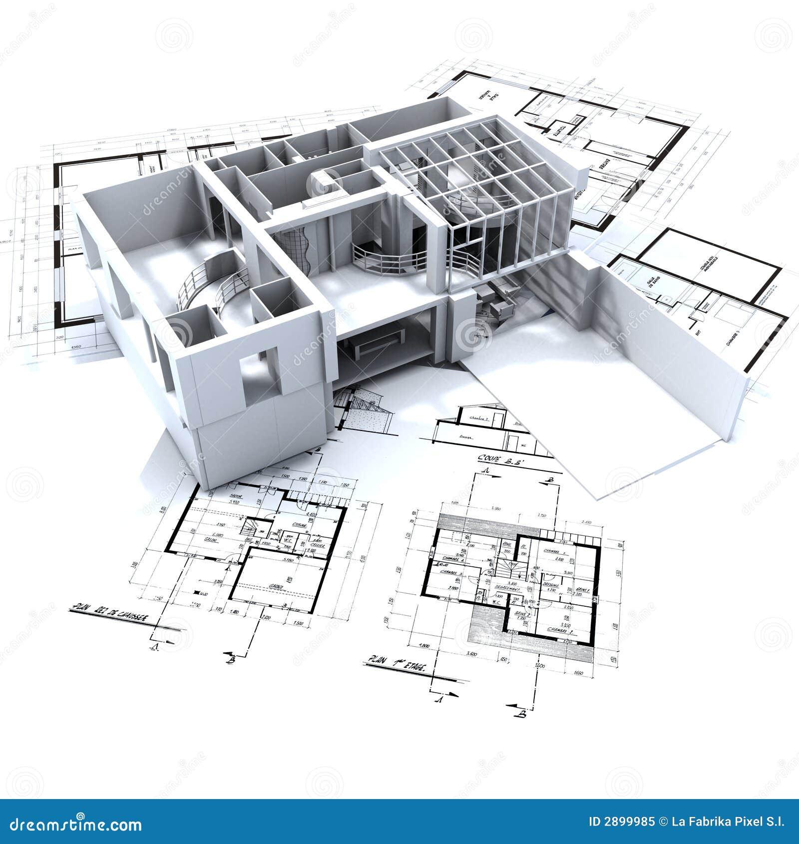 Loft mock up and blueprints stock illustration for Architect design online