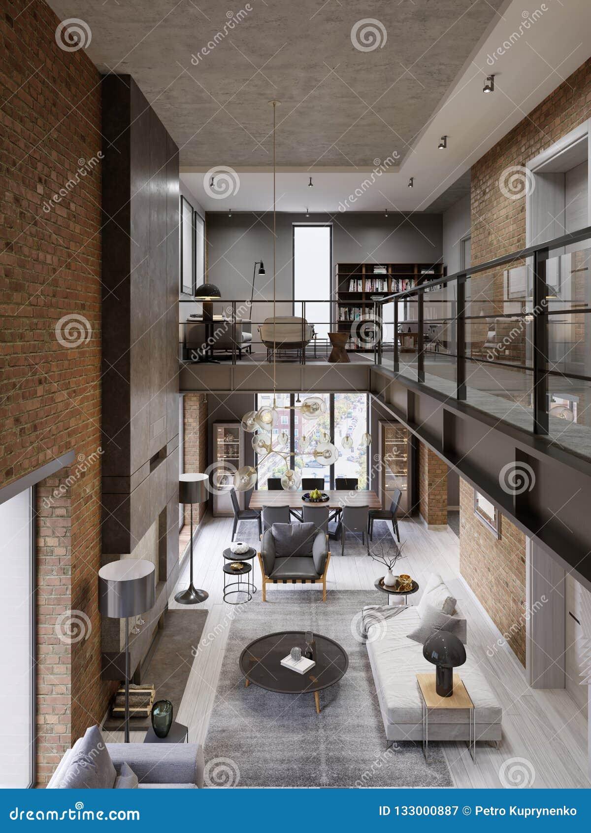 Loft Modern Interior Designed As A Open Plan Modern Apartment Open Plan Including Kitchen Dining Room Living Room Glass Stock Illustration Illustration Of Communication Leather 133000887