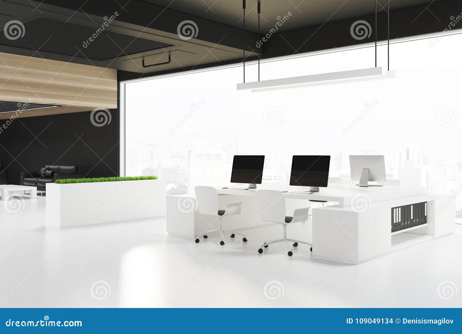 Loft Otwarta Przestrzeń Biurowego Kąt Czarny Sufit
