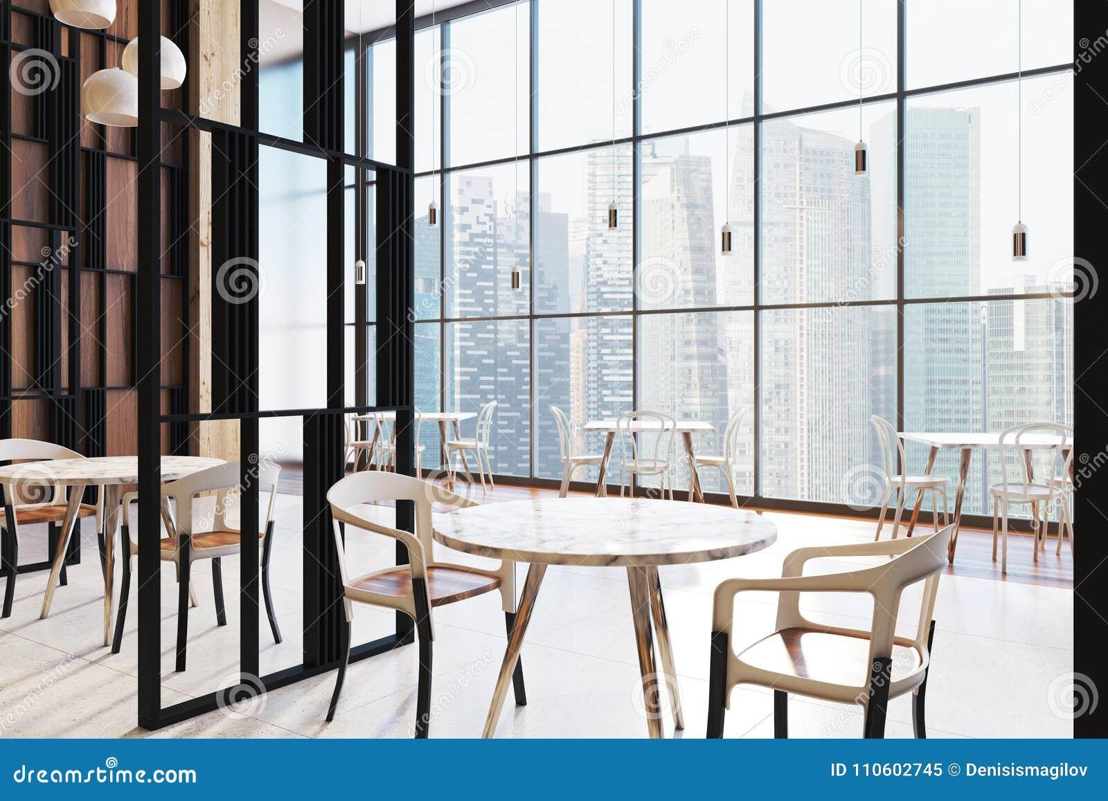 Loft restaurant interior round tables stock illustration