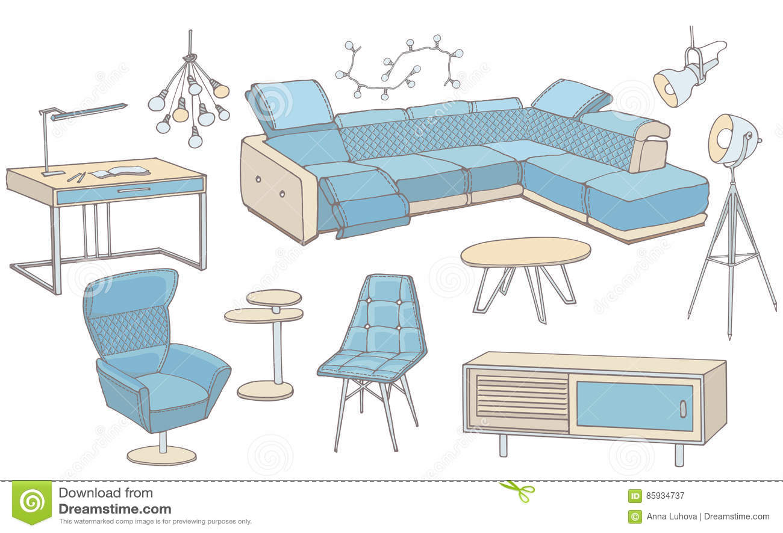 Excellent Loft Sofa 1 Color Blue Stock Vector Illustration Of Inzonedesignstudio Interior Chair Design Inzonedesignstudiocom