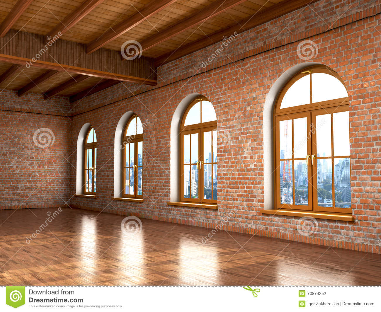 Loft Studio Interior In Old House Big Windows Brick Red