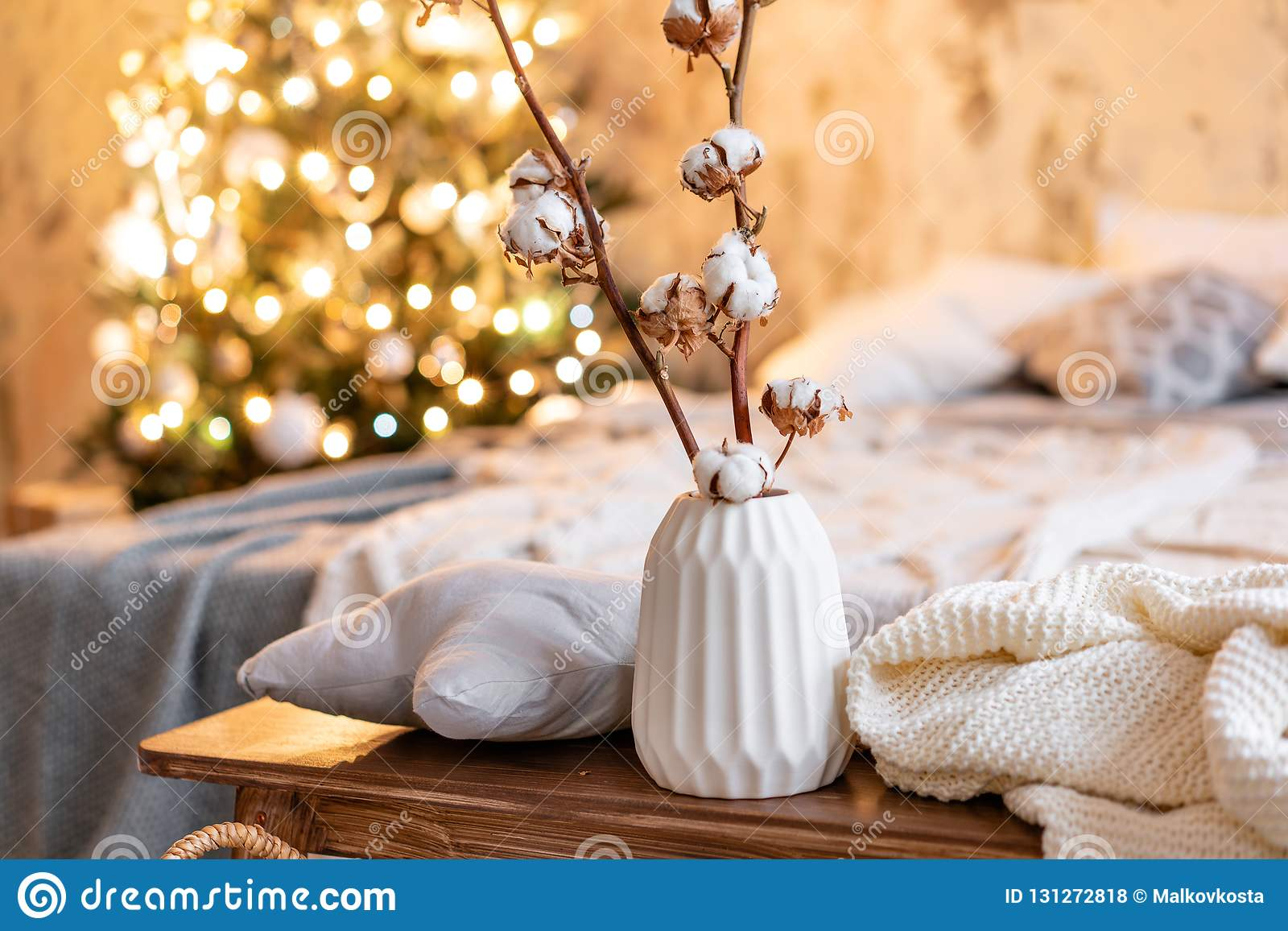 Vase With Cotton Branches Loft Style Apartments Christmas Tree Bed In The Bedroom High Large Windows Stock Photo Image Of Loft Festive 131272818