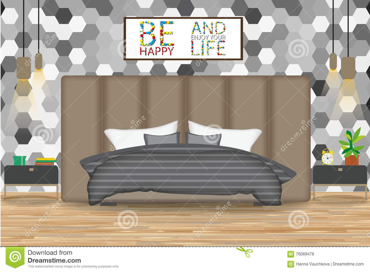 Loft style interior design vector illustration bed in front of wall with wallpaper side