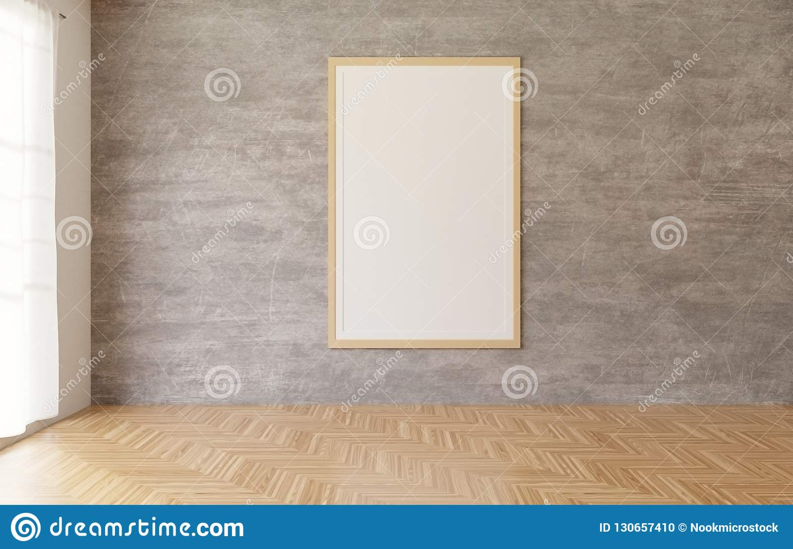 3d rendering White poster and frame hanging on the concrete wall background in the room,wooden floor,white Curtain