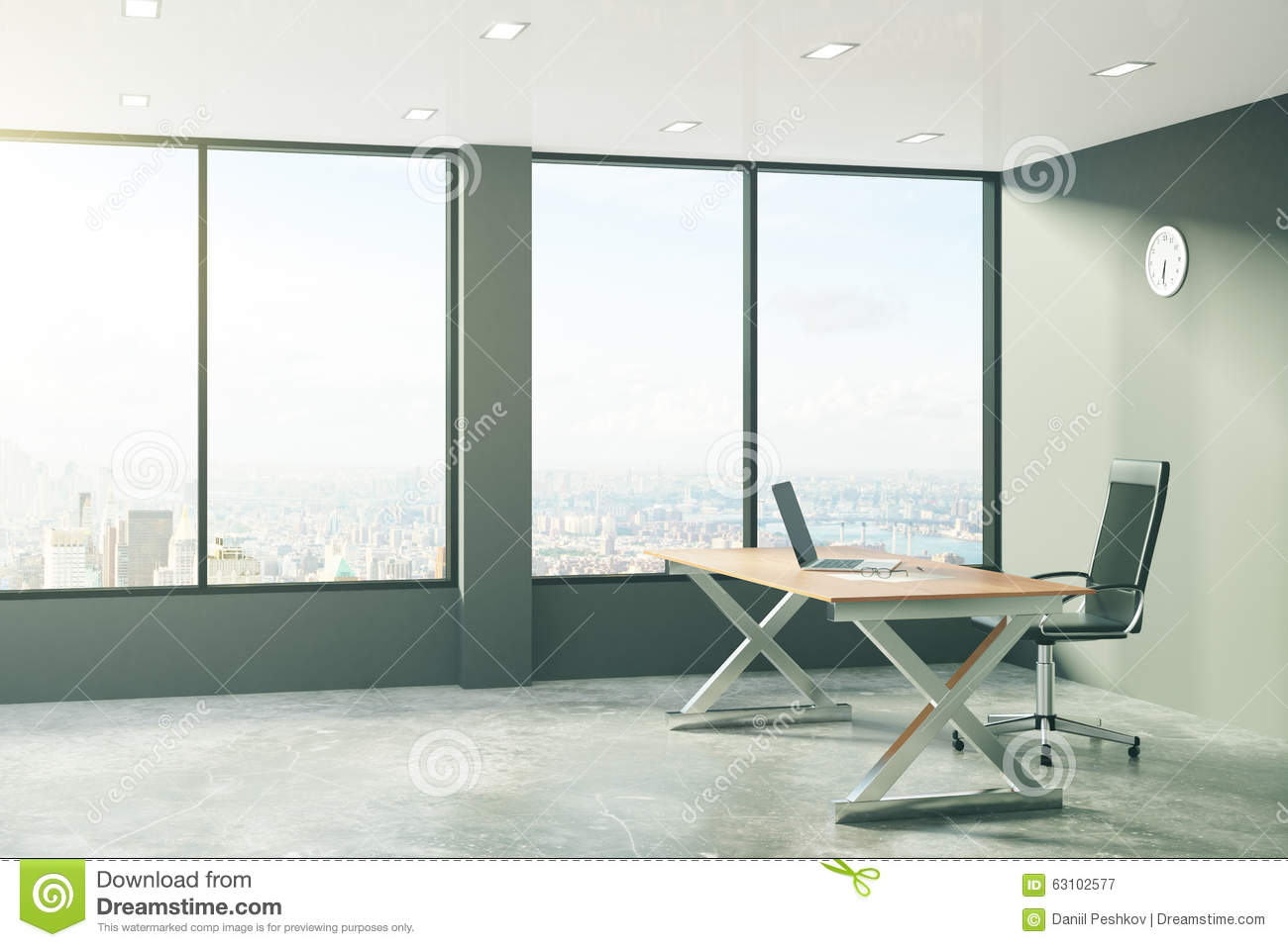 Loft style office with modern furniture and city view - Loft style office furniture ...