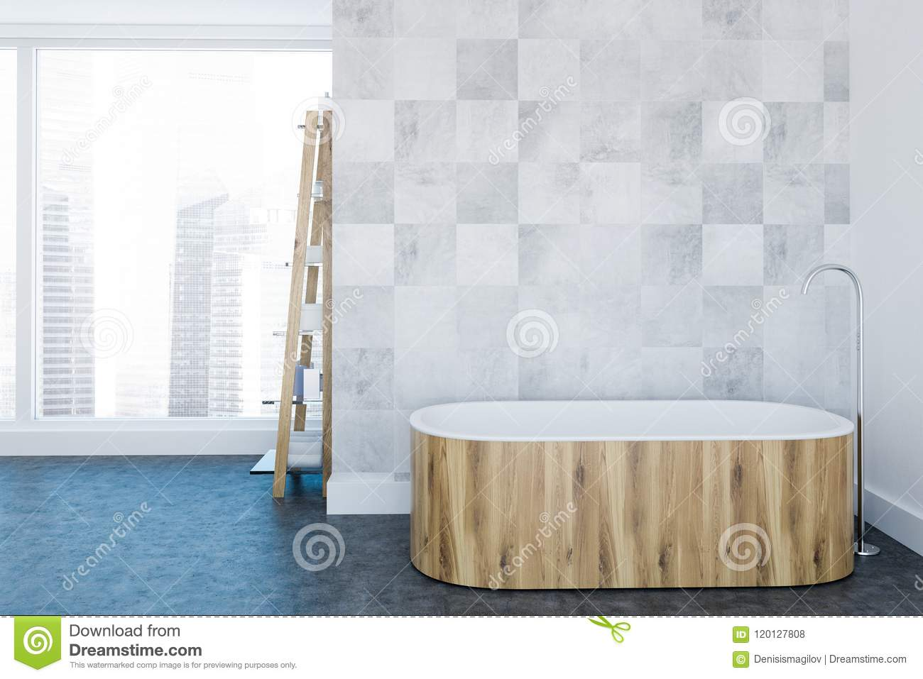 Loft White Luxury Bathroom Interior Wooden Tub Stock Illustration Illustration Of Object Clean 120127808