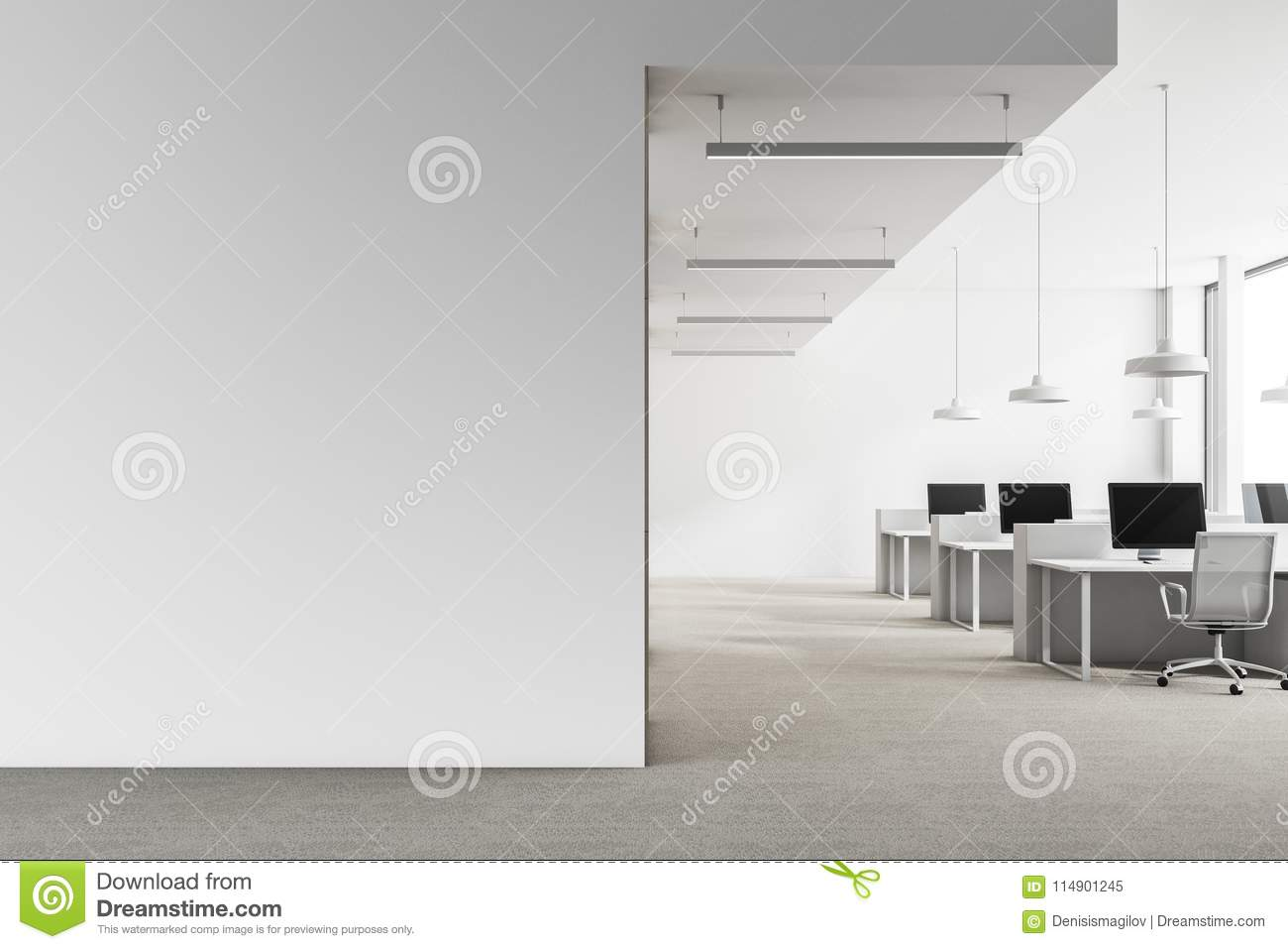 Loft White Office Interior, Mock Up Wall Stock Image - Image of ...